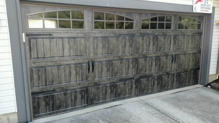 Gray Slate garage door with windows