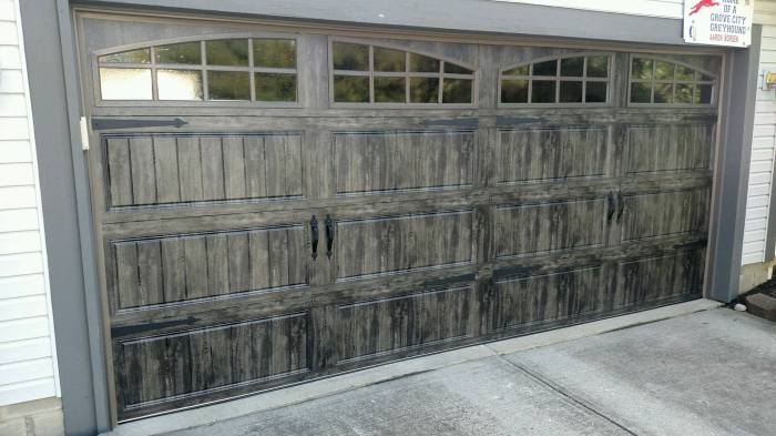 Gray Slate garage door with windows