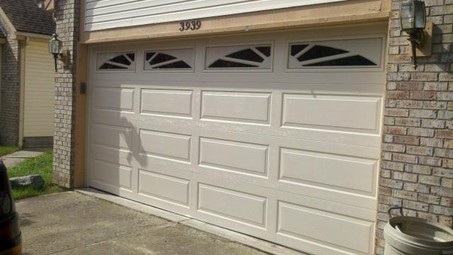 long panel garage door with windows