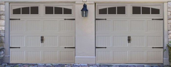 short panel garage door with windows