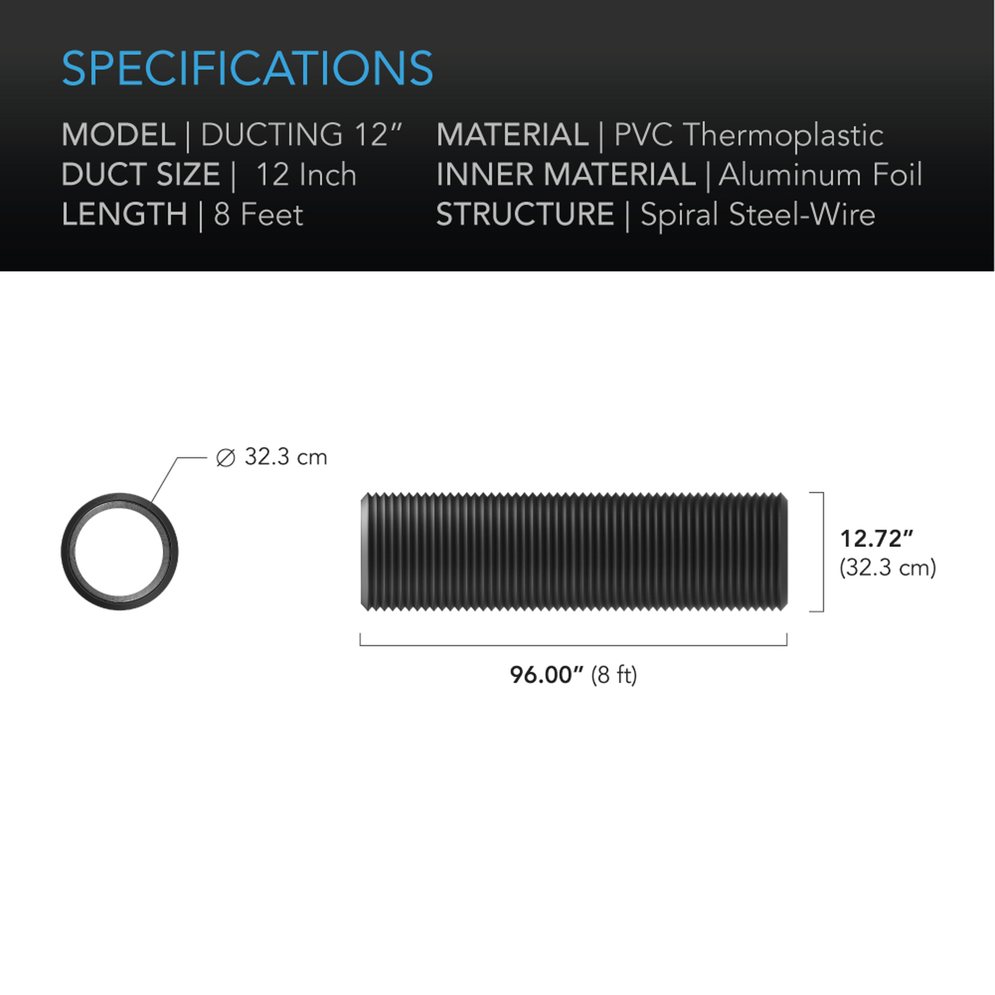 Duct tube 12 8' Specifications