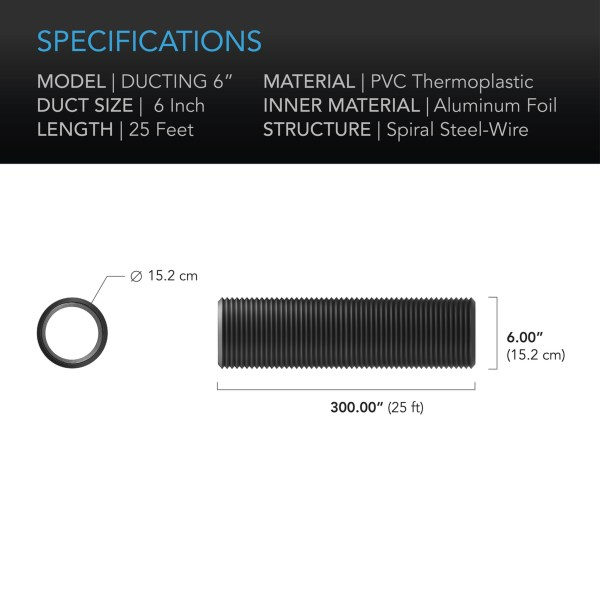 Duct tube 6 25' Specifications
