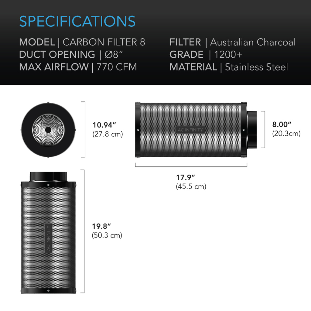 Duct Carbon Filter dimensions for Carbon Filter 8