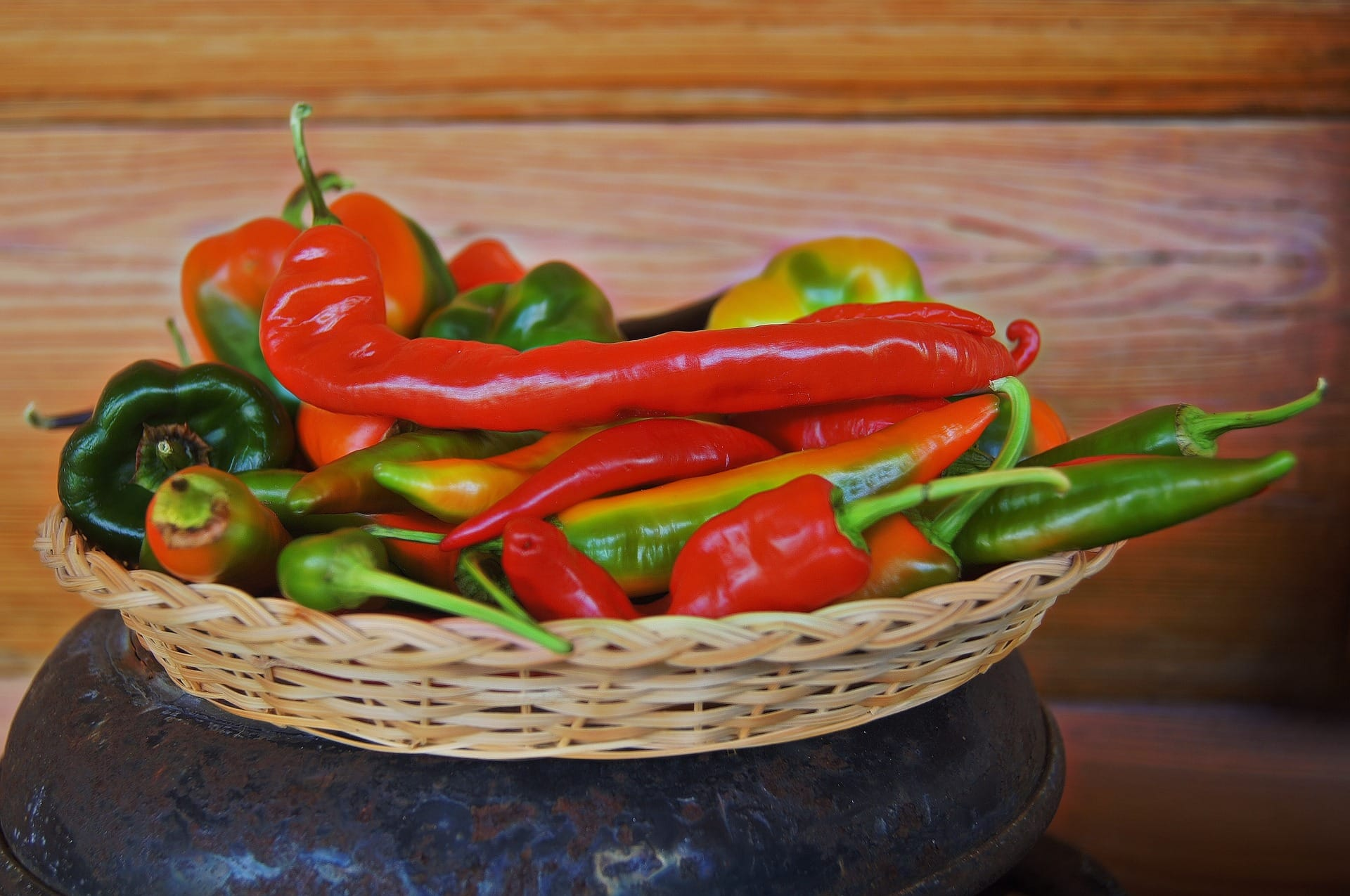 Cayenne Peppers Ripening In Basket