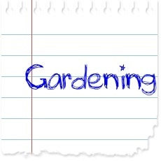 "image of a piece of paper with the word ""gardening"" written on it"