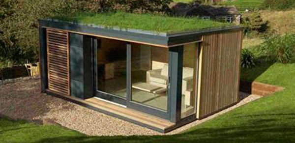 A Green Roof on an outdoor building - sometimes an Office at Home