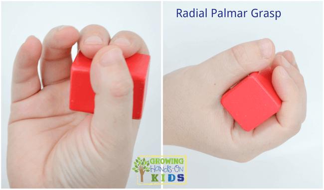 Radial Palmar Grasp, typical pencil grasp development in children.
