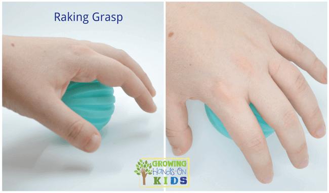 Raking grasp, typical pencil grasp development in children.