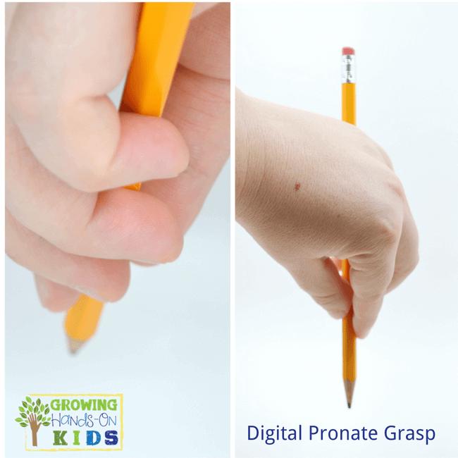 Digital pronate grasp, typical pencil grasp development in children.