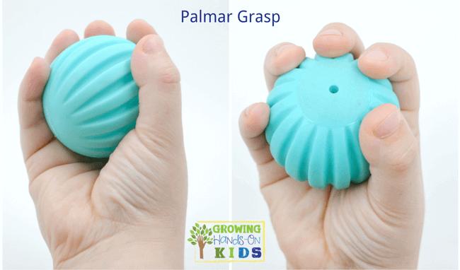 Palmar grasp, typical pencil grasp development in children.