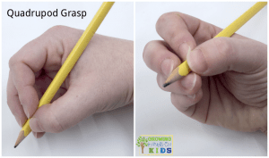 Quadrupod grasp for pencil grasp development. efficient grasp for handwriting.