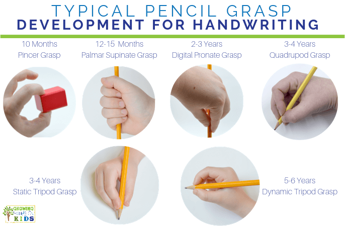 Typical pencil grasp development for handwriting. Efficient grasps for handwriting.