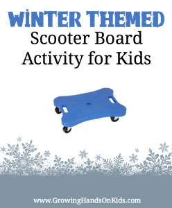 Perfect for improving bilateral coordination skills, a winter themed scooter board activity for kids.