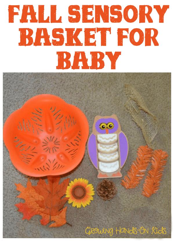 Fall sensory basket for baby.