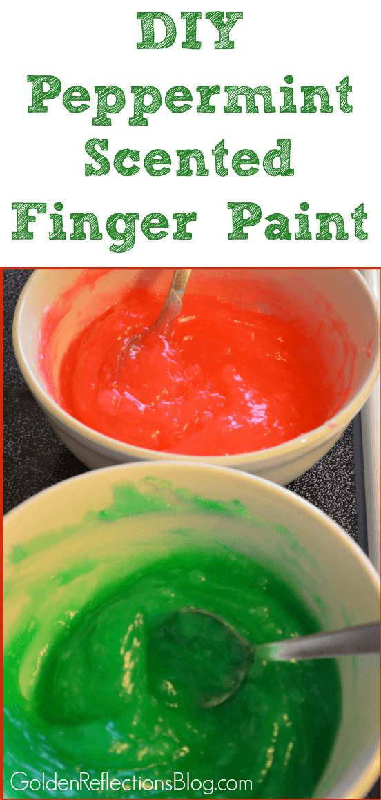 A DIY peppermint scented finger paint recipe for kids. www.GoldenReflectionsBlog.com