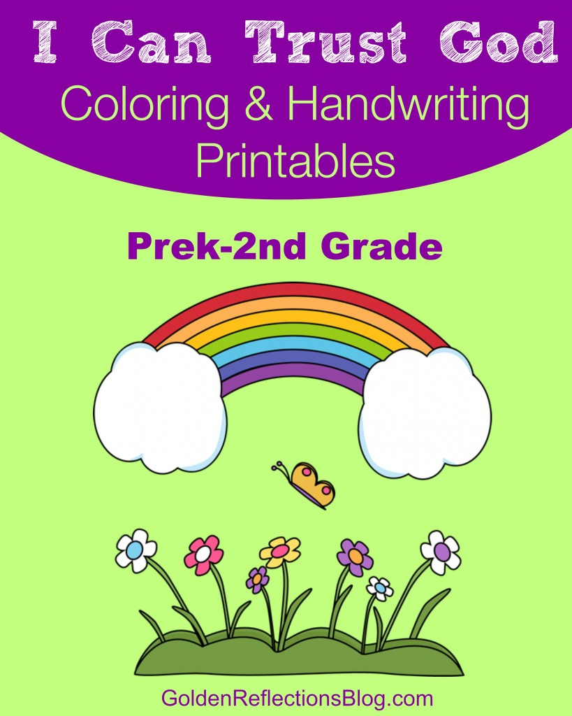 I Can Trust God coloring and handwriting free printable