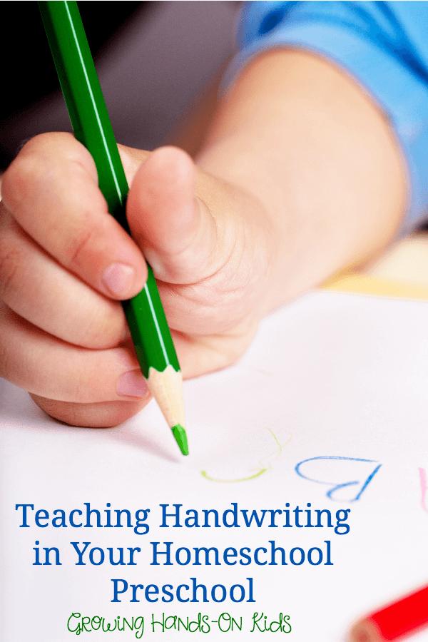 Teaching handwriting in your homeschool preschool.