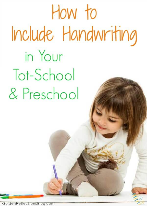 Not sure how to include handwriting skills with your toddler or preschooler? Get hands-on ideas that are fun! | www.GoldenReflectionsBlog.com