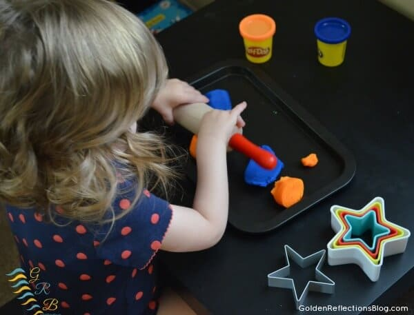 Montessori Homeschool for Toddlers - Star Themed Play Dough Tray
