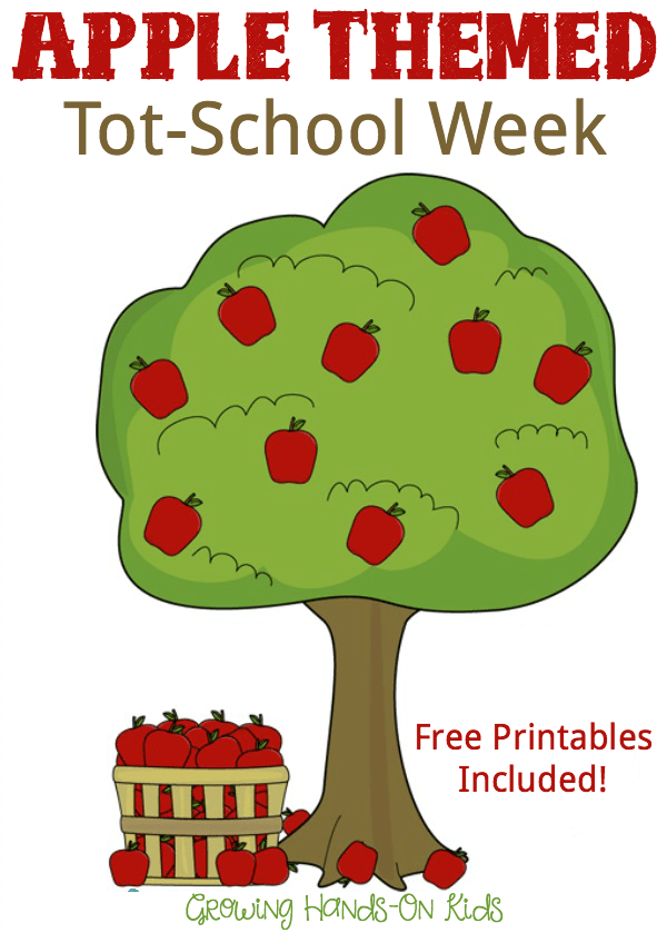 Apple themed tot school week with free printables included.