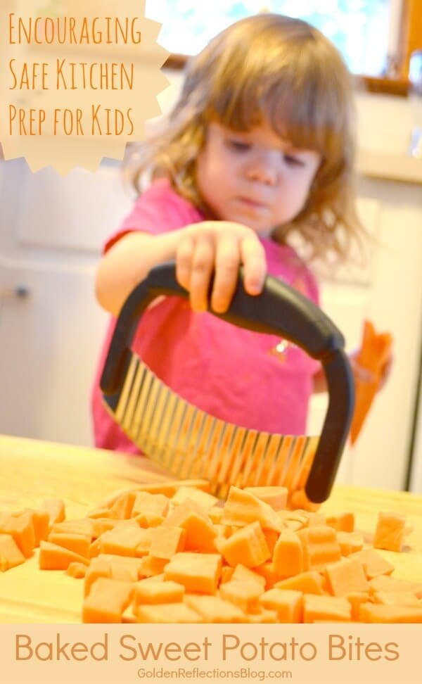 A healthy baked sweet potato bite recipe that encourages safety for kids in the kitchen. www.GoldenReflections.com