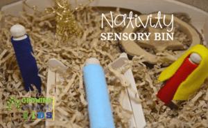 An easy, DIY Nativity sensory bin, perfect for the Advent season.
