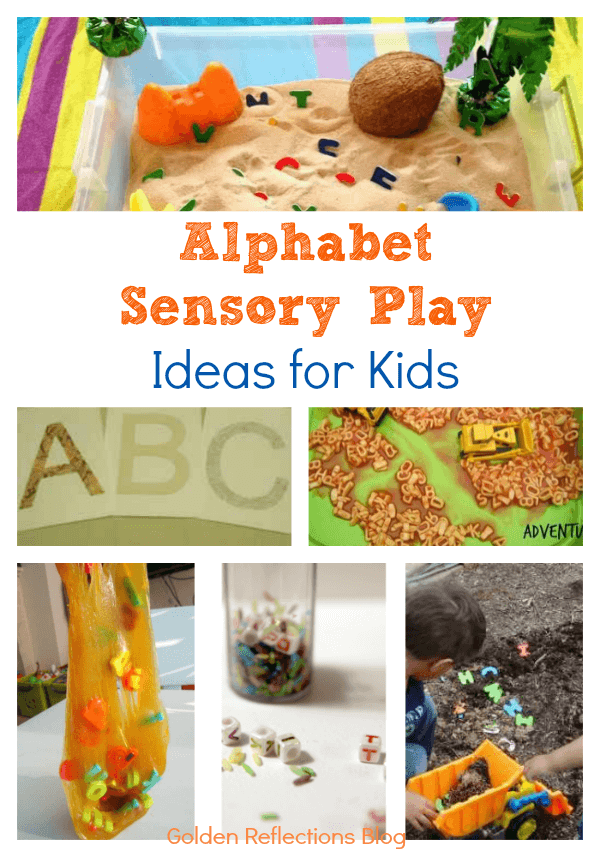 Fun and engaging alphabet sensory play ideas for kids. www.GoldenReflectionsBlog.com