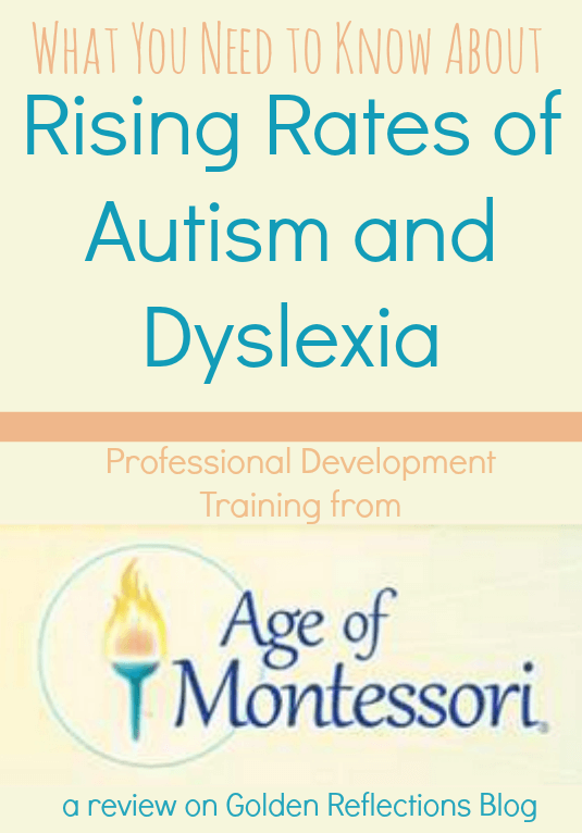 A professional development webinar for Montessori teachers and parents on the rising rates of Autism and Dyslexia in the classroom. www.GoldenReflectionsBlog.com