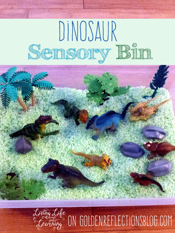 D is for Dinosaur sensory bin play for kids. www.GoldenReflectionsBlog.com