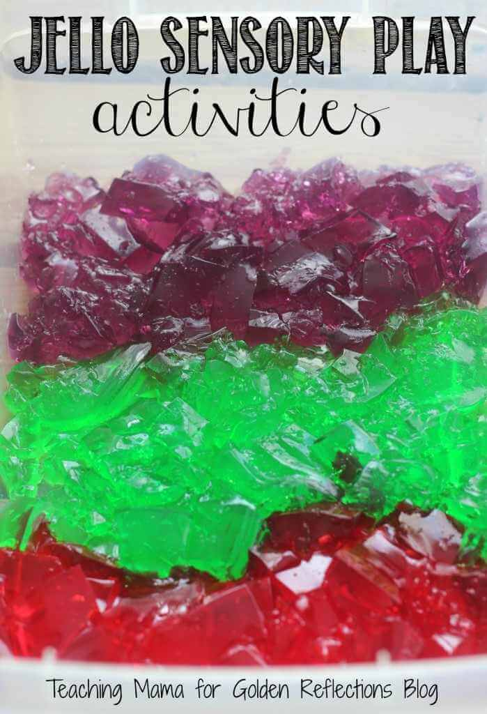 Jello sensory play ideas for kids. www.GoldenReflectionsBlog.com