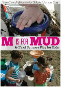 Mud sensory play ideas for kids. ww.GoldenReflectionsBlog.com