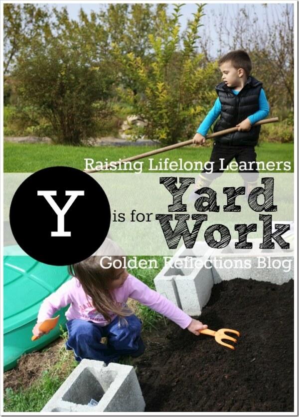 Yard work sensory play ideas, perfect for proprioception input. www.GoldenReflectionsBlog.com