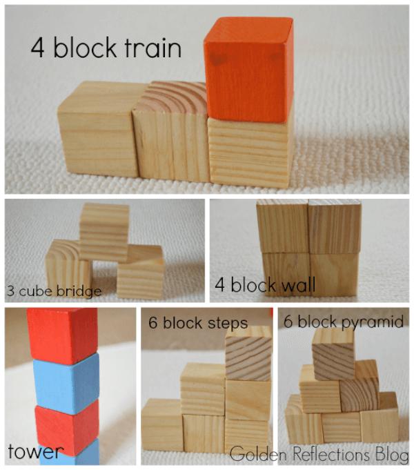 block designs for developmental modeling play. www.GoldenReflectionsBlog.com