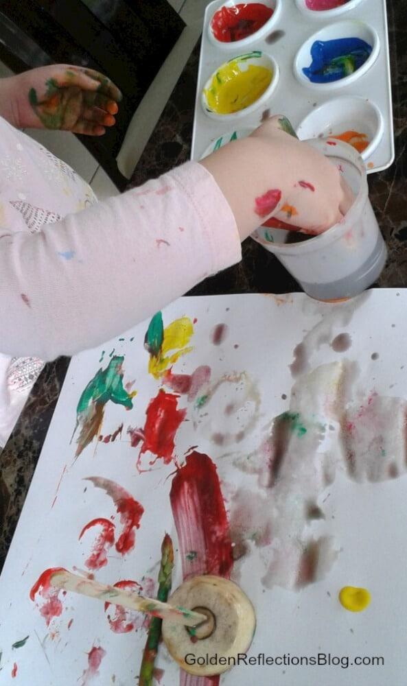 vegetable painting sensory play fun