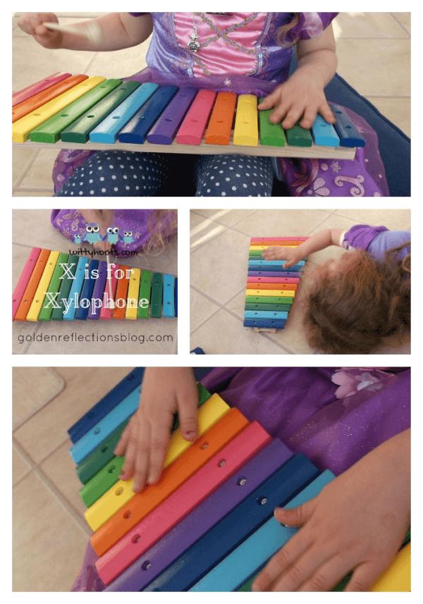 Xylophone sensory play ideas for kids. www.GoldenReflectionsBlog.com