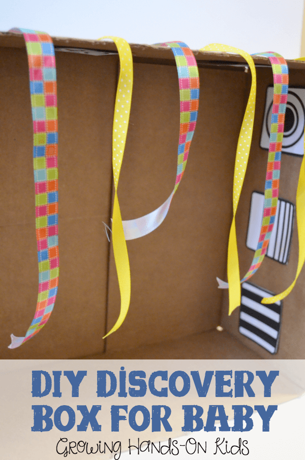 DIY Discovery box for baby, the perfect sensory play activity for babies.