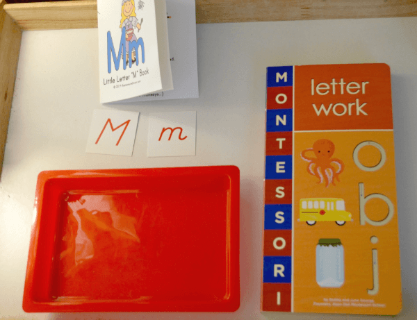 Reading and pre-writing books for letter M activities for letter of the week tot-school, ages 3-4.