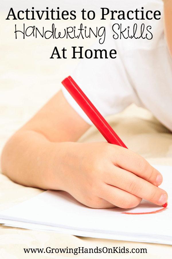 Activities to Practice handwriting at home