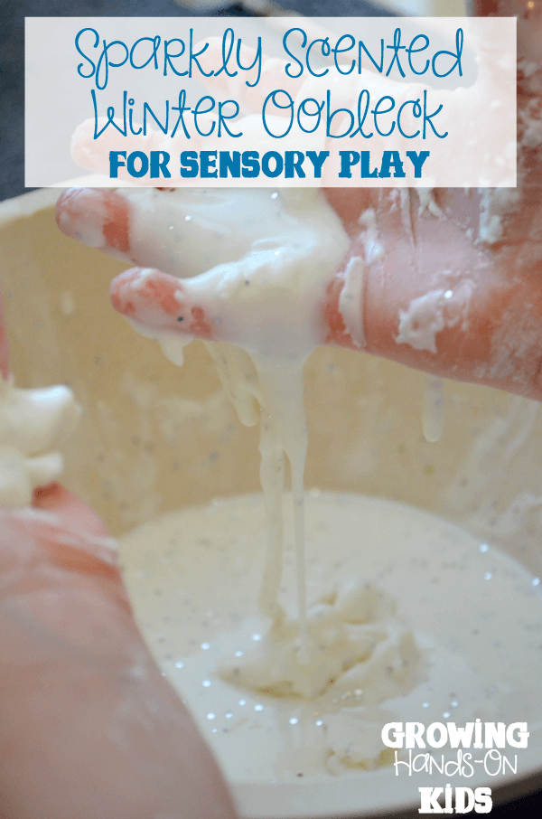 Sparkly winter scented oobleck recipe for sensory play