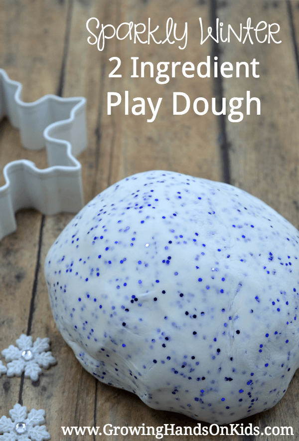 sparkly winter 2 ingredient play dough recipe