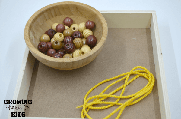 Round beads for stringing, letter O activities for tot-school.