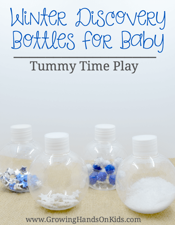 Winter discovery bottles for baby tummy time play
