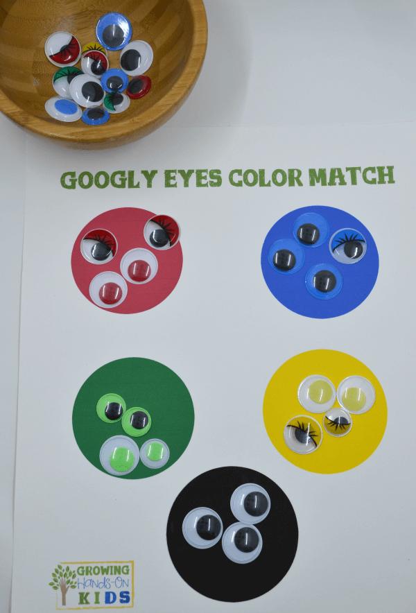 Googly eye color match activity