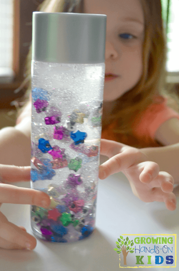 Suspended star discovery bottle for toddlers and preschoolers.