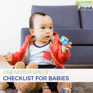 Fine motor skills checklist for babies, ages 0-18 months old.