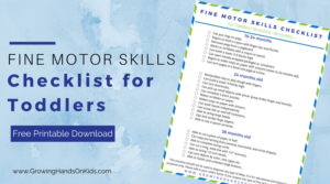 Fine motor skills checklist for toddlers (ages 18 months to 36 months).