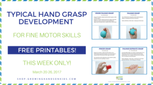 Typical hand grasp development for fine motor skills limited time freebie.