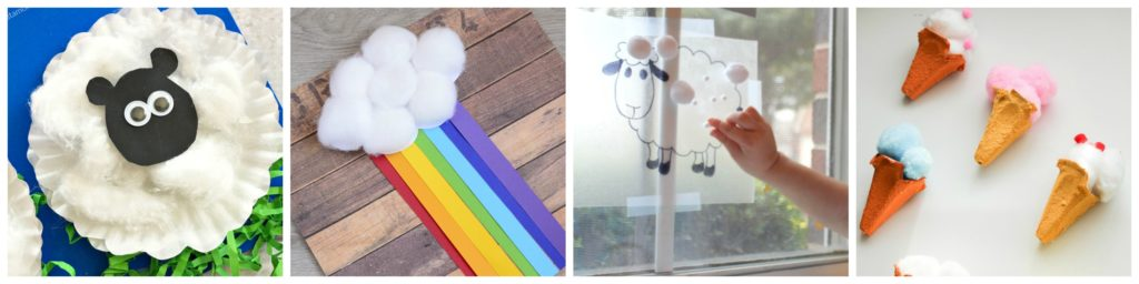 Cotton Ball Hands-on Activities for Kids Spring and Summer Crafts
