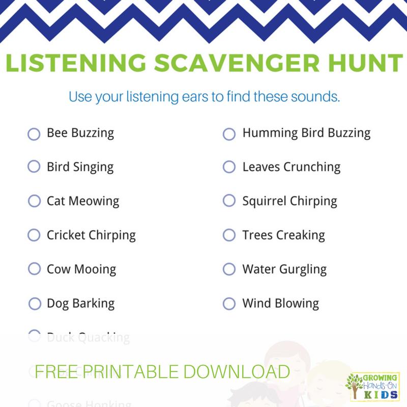 Listening Scavenger Hunt for kids, includes free printable download.