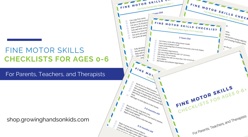 Fine Motor Skills Checklist for kids ages 0-6+ free download.